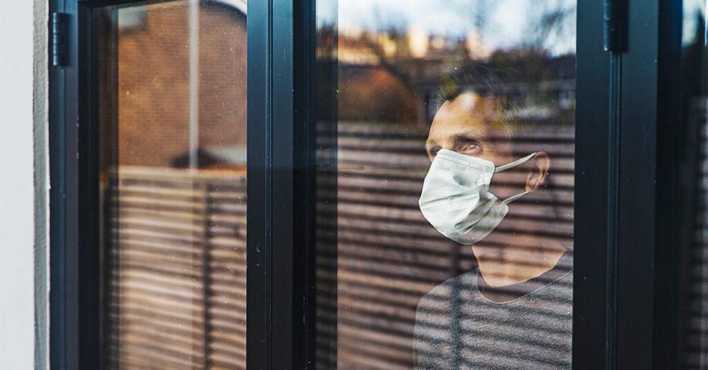 Man wearing mask during COVID-19 pandemic