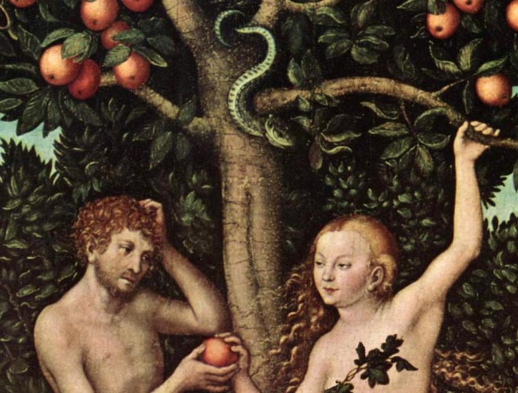 Adam and Eve in garden